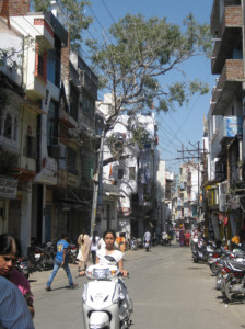 The streets of Udaipur were slightly less congested streets than Delhi.