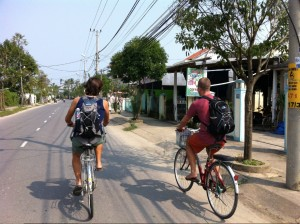 Dave and Pat lead the 2-wheeled charge to the beach.