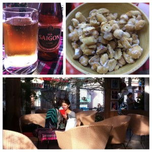 A lazy afternoon spent blogging and reading at Cafe 13 with some Saigon beer and the complimentary sugar-coated peanuts.
