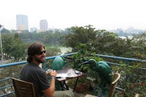 Morning coffee overlooking Hoan Kiem Lake.