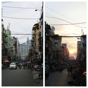 Day and Night in the backpacker district of the city where we spent our evenings.