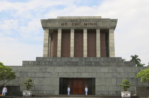Ho Chi Minh's mausoleum. Unfortunately the body was on a holiday of sorts, off in Russia for his annual embalming touch-up.