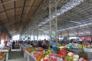 Surprisingly airy, colorful scene in the town market.
