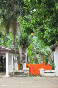 Saffron-colored monks' robes hung out to dry in the courtyard of a wat.