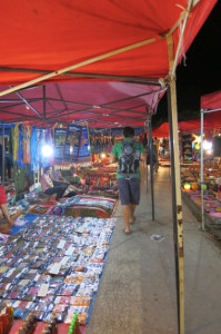 Walking around the night market in downtown Luang Prabang.