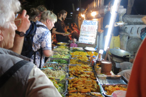 The delicious spread of all-you-can-eat stirfry (for $1.25) at the night market.