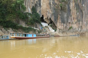Passing the famed Pak Ou caves on our way out of Luang Prabang.