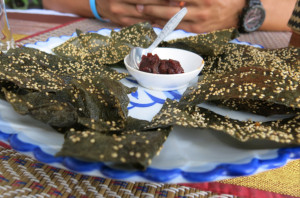 Fried river weed with sesame seeds and chili paste. We were skeptical, but it was pretty great.