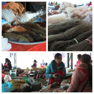 Scenes from the market. Fish, noodles and...yes, squirrels (and is that some sort of winged creature?).