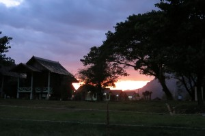 The sun sets on Vang Vieng.