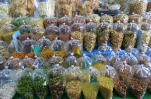 More than a few choices of nuts at one of the many markets.