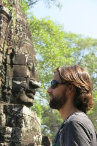 EDITOR'S NOTE: This may look like a staring contest, but really I was just waiting to receive the background on our challenge for that day, only to be let down when Noelle broke the news that Legends of the Hidden Temple wasn't actually based off the carved faces in Bayon…