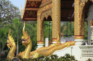 Dragons at the back entrance of the wat.