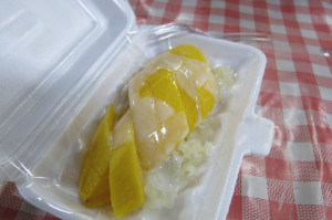 Sticky rice, fresh mango and a drizzle of coconut milk.