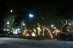 Looking back at our guesthouse's restaurant from the beach.