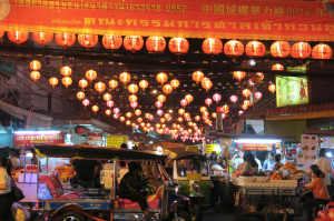 Lantern-laden Chinatown by night.