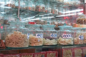 Window shopping for the famed Bird's Nest Soup, a local dish made from (you guessed it) bird nests. Literally. These are apparently the varying levels of quality of the craftsmanship of the birds that went into the final product?