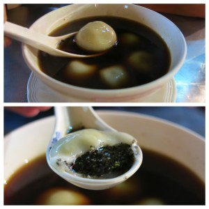 Dessert came in the form of Bua Loy Nam King. The strongest ginger broth you can imagine with black sesame pudding-filled dumplings.
