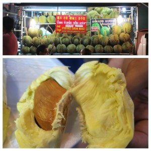 Cart full of durian fruit with the fleshy fruit shown closer up below. This stuff is notorious for it's extremely strong smells (that many dislike). We didn't mind the smell as much as others did, but I definitely wan't a huge fan of the taste.