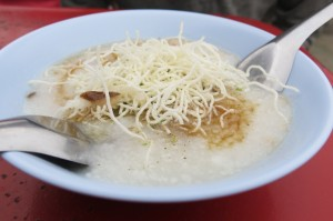 To warm up on the cold mornings, we partook in the traditional Thai breakfast of rice soup.