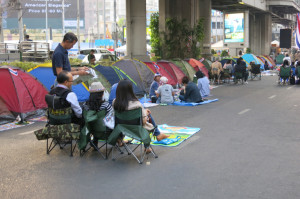 Tents were up throughout various neighborhoods in the city for Bangkok's version of Occupy Wall Street.
