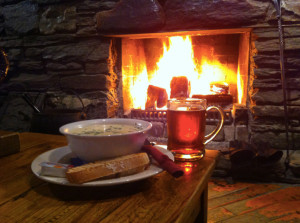 Chowder and beer by the fire. Ma-nom-a-nom.