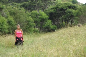Tramping (the NZ word for hiking) through tall grass.