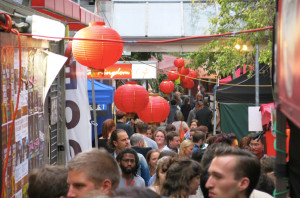 Navigating the Night Market crowd.