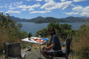 Picnicing with a view of Queen Charlotte Sound