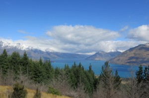 Views from, literally, the top. Queenstown lookout point with Lake Wakatipu below and Remarkables in the distance.