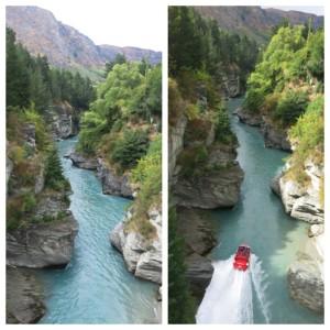 Shotover river, where the discovery of gold in 1860s made the town explode. Now, it's used for exhilarating jet boat rides.