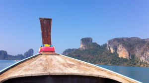 On our ride to Railay, with the limestone karsts in the distance.