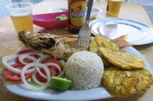 Fish dinner (and most importantly, coconut rice) at Bony in El Laguito.