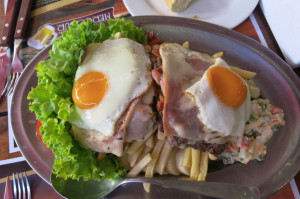 The country's signature dish, chivito (so expect to pay top dolla for it). As good as it looks.