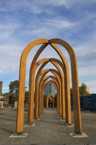These timber arches are meant to house future outdoor markets around the city (they can be relocated anywhere).