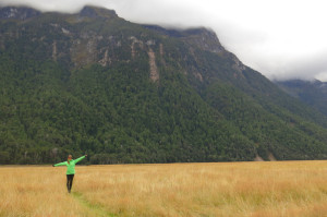 Noelle galavanting through Eglinton Valley on the way to Milford Sound.