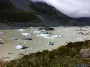 Glacial waters at the end of the valley with a few chunks of the Hooker Glacier floating around.