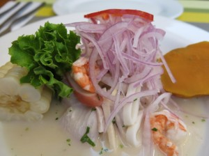 La Red ceviche. Onion heavy and delicious.
