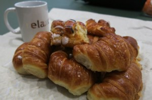 "An assortment of ""fatura"" or breakfast pastries...mainly medialunas."