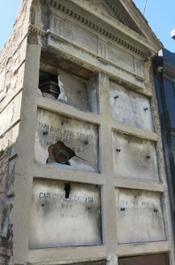 Building materials for the original tombs were imported from Paris and Milan. This one is a bit worse for the wear.