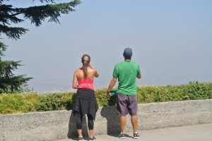 A look out over Santiago's smoggy skyline from Cerro San Cristobal.
