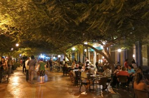 The busy, treelined plaza houses cool restaurants and clubs (we recommend grabbing pizza at Ouzo).