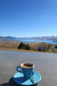 Coffee with a view of the southern alps above Lake Tekapu.