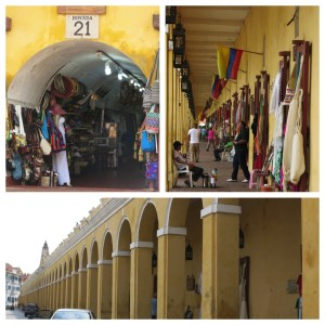 The shops of Las Bovedas are housed in an old dungeon attached to the city walls, the former cells used to sell traditional Colombian merchandise.